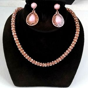NEW Rose Gold Pave Crystal Popcorn Chain +Earrings